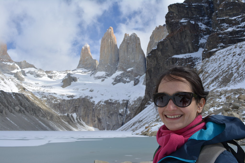 Aline traveled from Rio, Brazil, to Torres del Paine, Chile. Welcome to Base Torres!