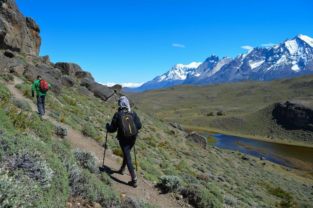 Paz Bascuñan is trekking along Torres del Paine