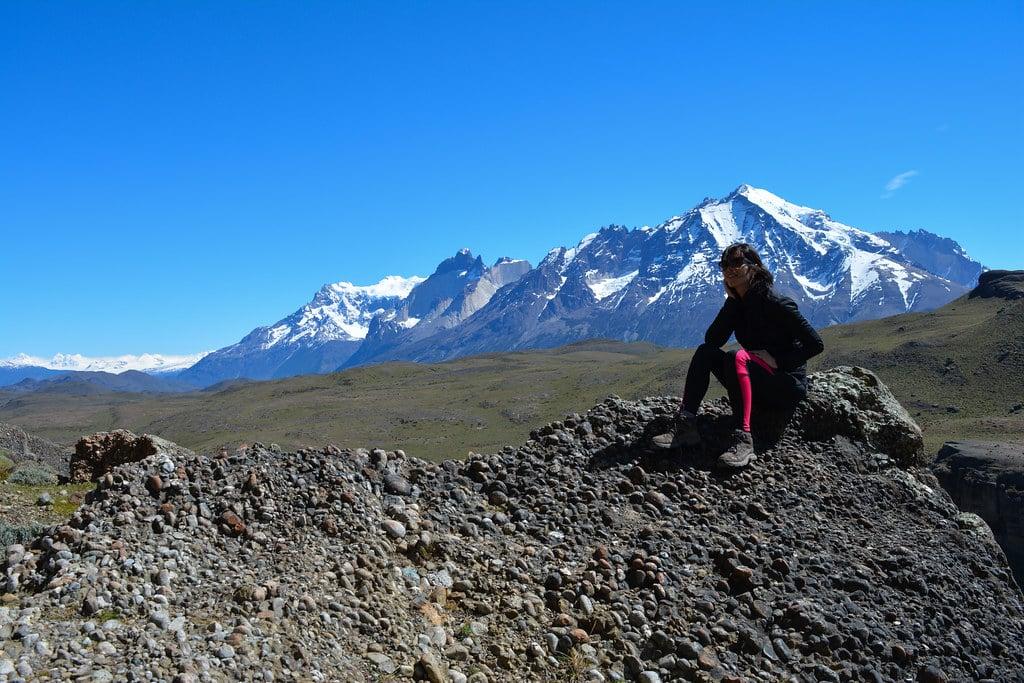 Paz Bascuñan sunbathing in front of the Cordillera del Paine