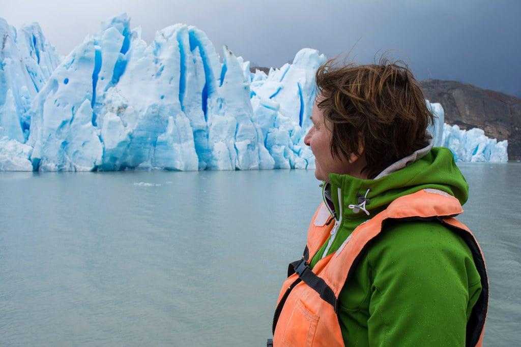 Hilde in front of Grey Glacier