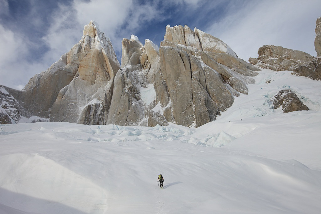 Heading to Cerro Torre's peak in El Chalten, Los Glaciares National Park