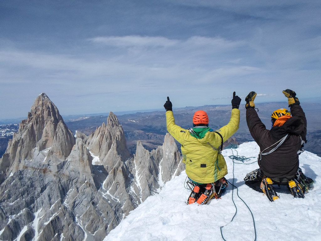 The Señoret Brothers on the summit of Cerro Torre - overlooking Mt. Fitzroy (yes, that sounds crazy, but they did it).