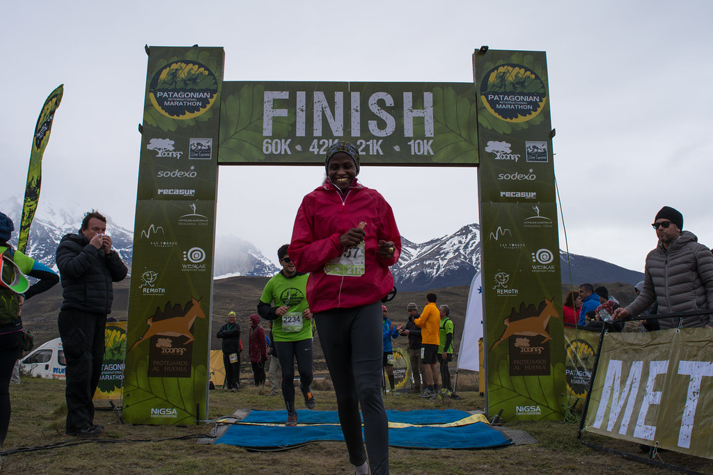 Finish line (at Laguna Amarga), after almost 3 hours on the run!