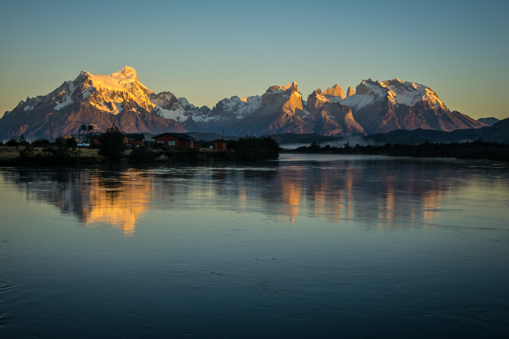 Early morning view of Torres del Paine from