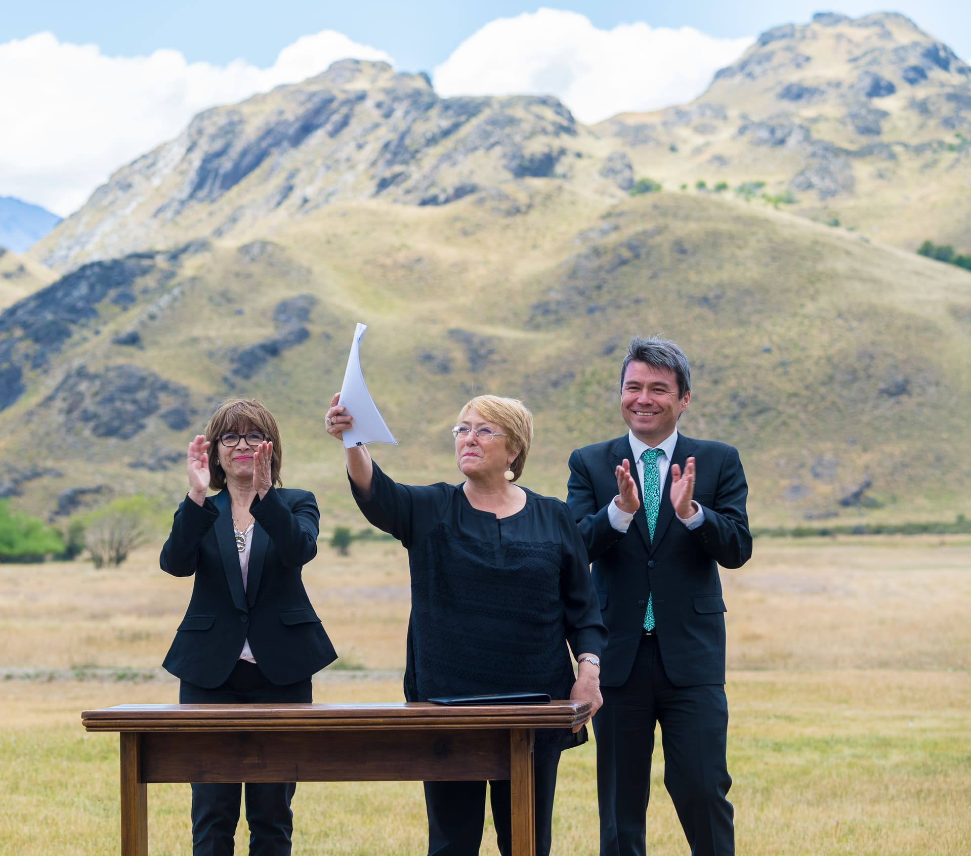 Chile's former president Michelle Bachelet in patagonia
