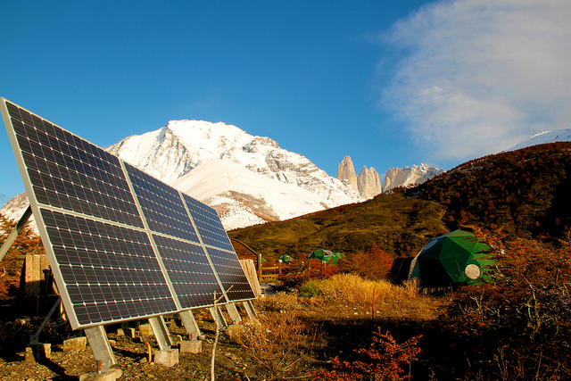 Solar energy is sourced to power EcoCamp Patagonia