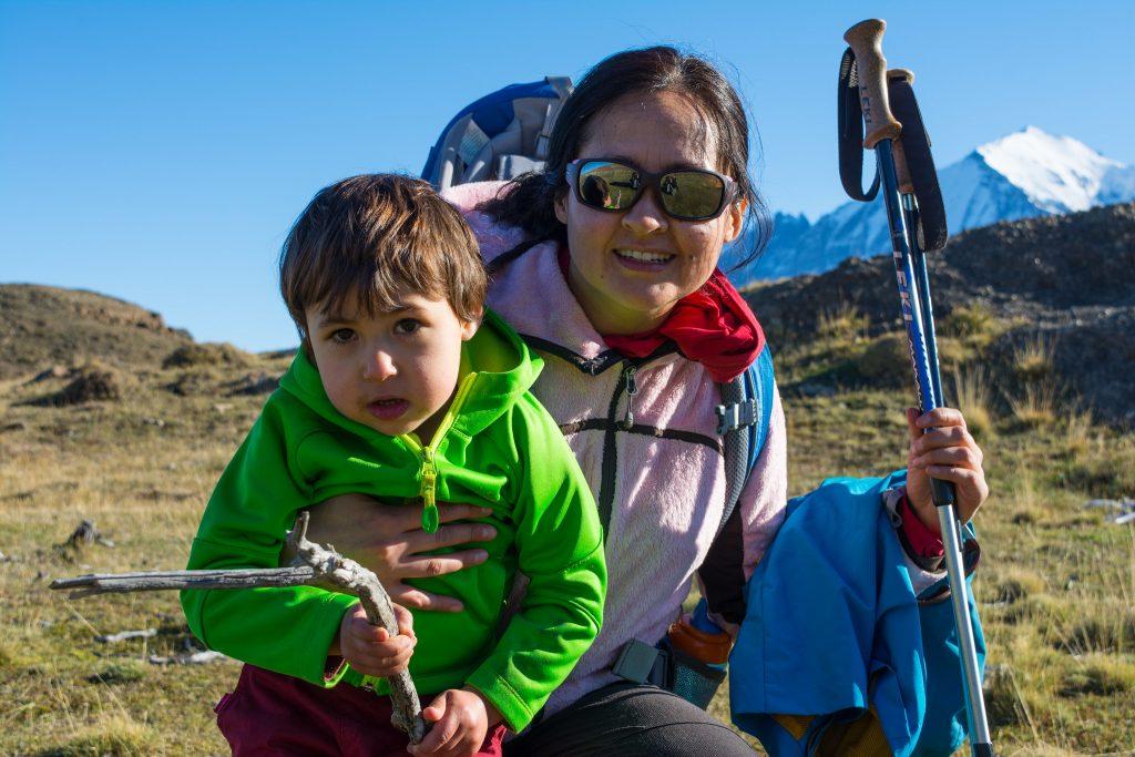 Family trekking through Patagonia