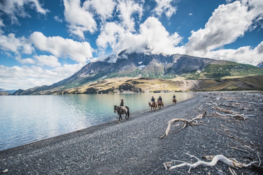 Riding a horse in Patagonia