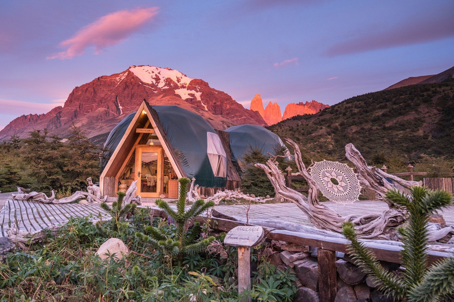 EcoCamp Patagonia at sunrise